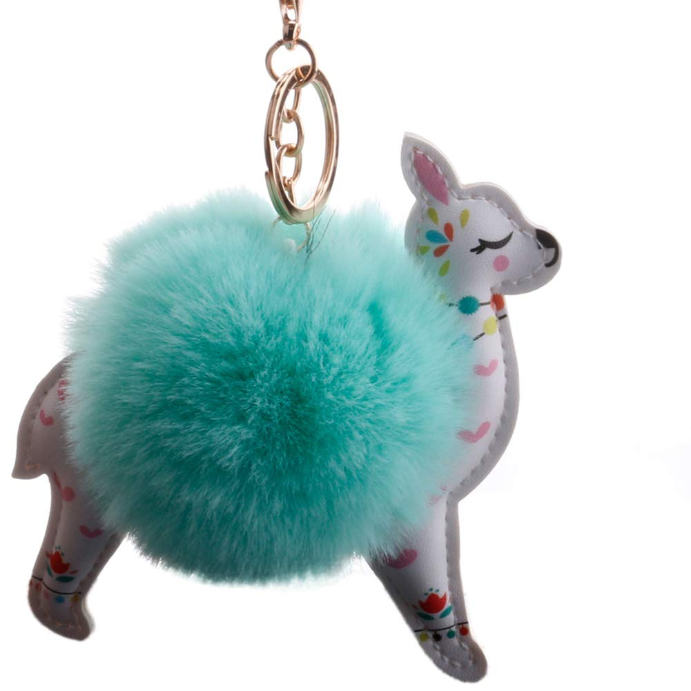 Slendima Lovely Sika Deer Fluffy Ball Keyring Car Key Chain Handbag Hanging Decor Gift Mint Green