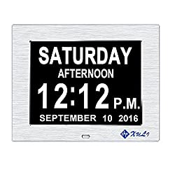 Day Clock-Upgrade XULI Digital Clock The Original Memory Loss Digital Calendar Day Clock with Extra Large Non-Abbreviated Day & Month(Silver)