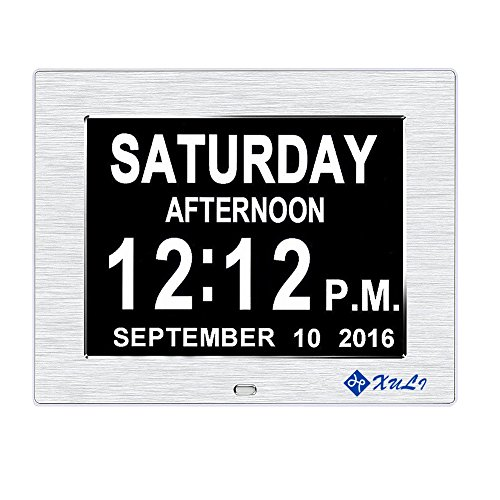Family Time Photo Clock (Day Clock-Upgrade XULI Digital Clock The Original Memory Loss Digital Calendar Day Clock with Extra Large Non-Abbreviated Day & Month(Silver))