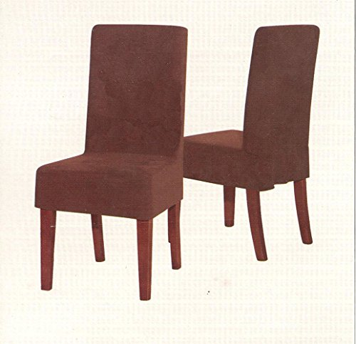 Parker Micro Suede Short Dining Chair Slipcover Cover Protector Brown