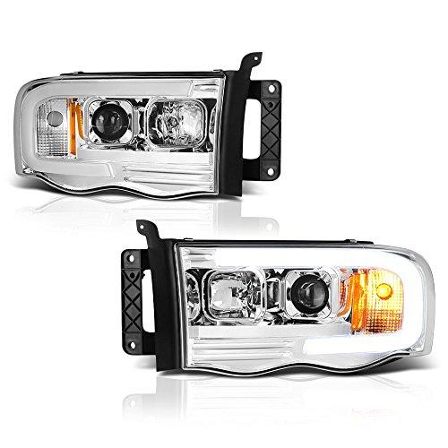 [For 2002-2005 Dodge RAM 1500 2500 3500] OLED Neon Tube Chrome Projector Headlight Headlamp Assembly, Driver & Passenger Side