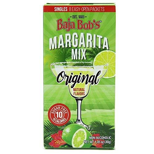 Baja Bobs New ORIGINAL MARGARITA MIX SINGLES (8 Convenient Single-Serve Powder Packets) - Low Calorie Lite Cocktail Mixer