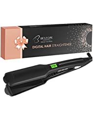 BESTOPE Hair Straightener Flat Iron for Hair Professional Ceramic Tourmaline Straightners Irons with LCD Display, 450F Salon High Heat, Dual Voltage (1.75 Inch)