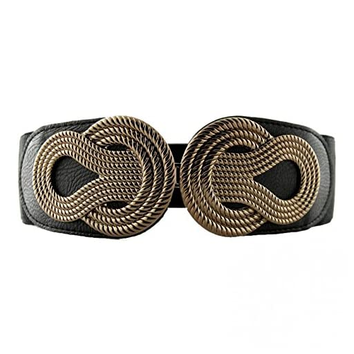 VOCHIC Retro Wide Mental Interlock Buckle Womens Elastic Waist Belt Cinch