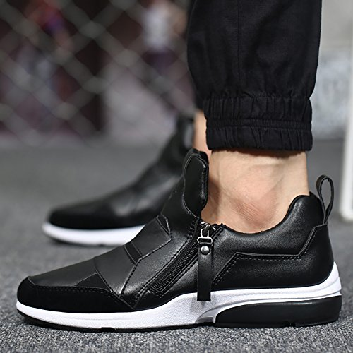 Men's Zipper Skidproof PU Leather Flat Breathable Shock-absoring Sports Shoes Black N3HlDqMLU