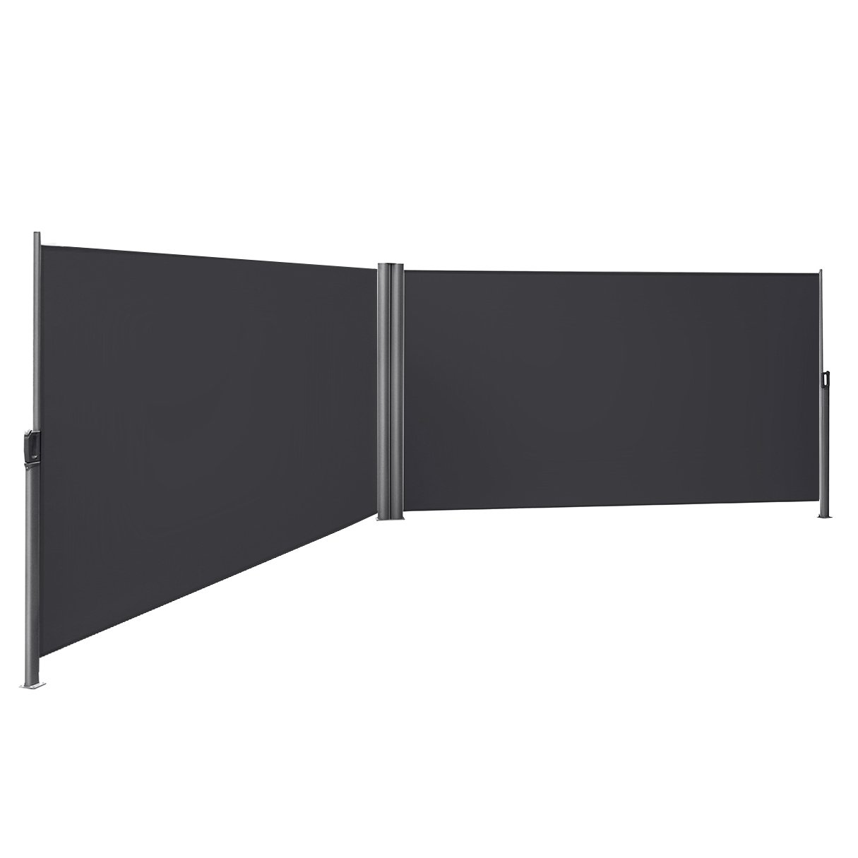 SONGMICS 236 2/8 L x 70 7/8 H Double Side Awning Privacy Screen Retractable Patio Blind Privacy Divide with Sturdy Aluminum Exterior Waterproof for Garden Terrace Porch Smoky Gray UGSA360G by SONGMICS