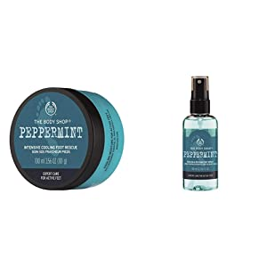 The Body Shop Peppermint Cooling Foot Spray and Peppermint Intensive Cooling Foot Rescue, 3.5 Fl Oz