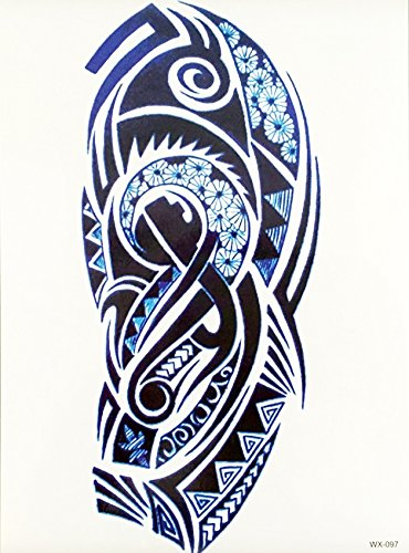 Hombres Tribal Tattoo Azul Oscuro Wx097 Brazo Tatuaje Pegatinas