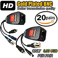 UTP balun hd Ventech cat5 to bnc video baluns transceiver passive with power and audio connector compatible with all CCTV technologies( analog AHD TVI CVI ntsc pal ) 20 PAIRS rj45 75 ohn connectors