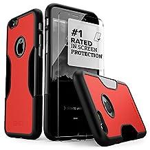 iPhone 6 Case, Fits iPhone 6s Black SaharaCase® Viper *Bonus Tempered Glass Screen Protector* [Slim Rugged Protection Kit] [Built-In Camera Hood] TPU Bumper PC Back (Black Red)