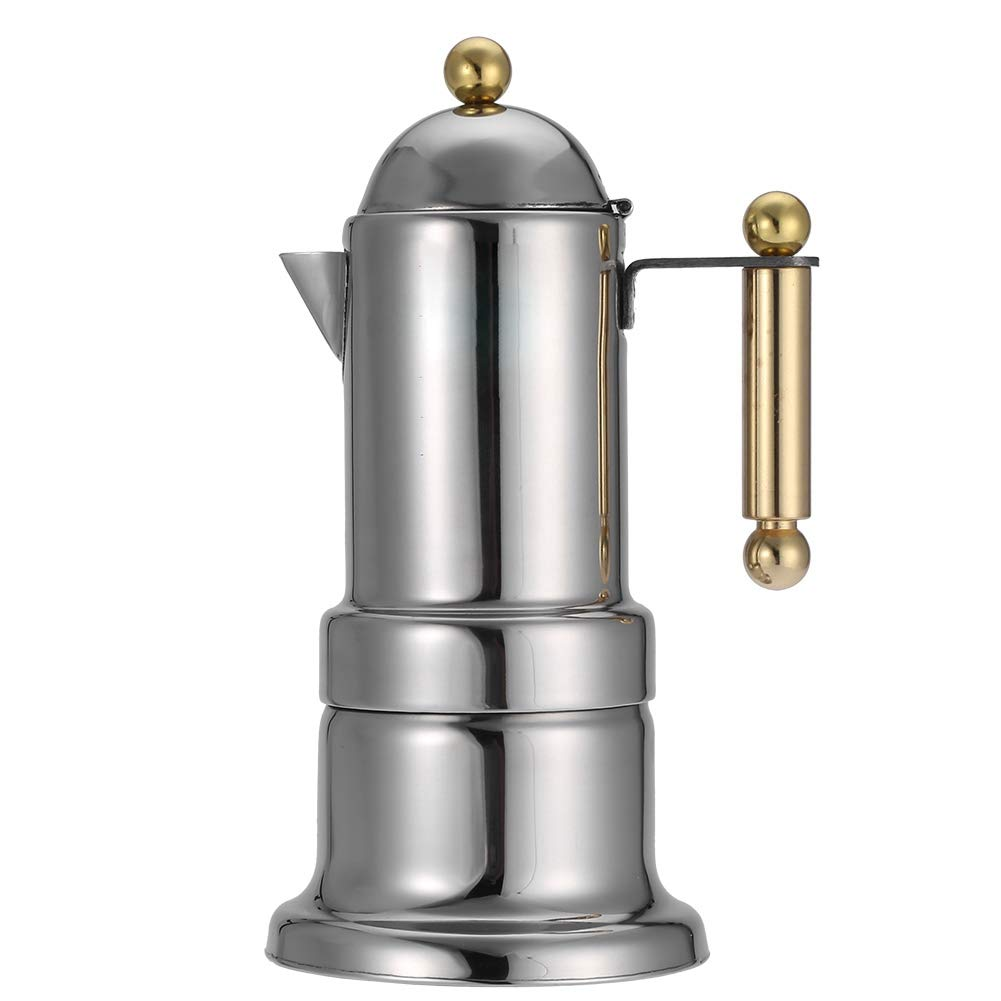 Fdit Stainless Steel 4 Cups Stovetop Coffee Maker Durable Espresso Pot Silver Moka Pot with Safety Valve by Fdit (Image #1)