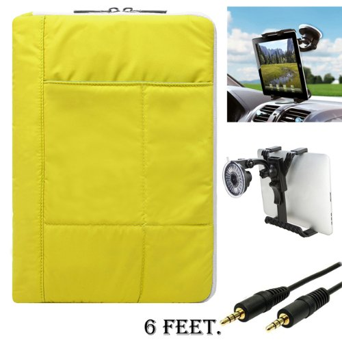 Vangoddy Pillow Lightweight Carrying Sleeve For Dell Venue 8 Pro/Venue 10 Pro 10.1/Latitude 11 5000 10.8/Dynex DX 9-inch + AUX Cable + Car Mount ()