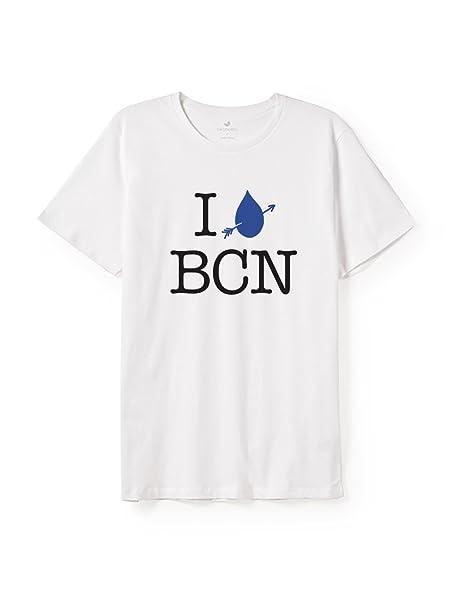 TWOTHIRDS Camiseta Hombre - 100% algodón orgánico - I Love BCN (Medium)