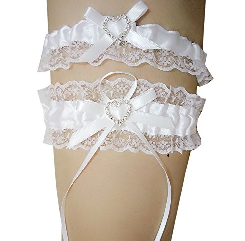 Mistari 1 Pair White Heart Lace Vintage Garters Prom Wedding Bridal Garter Belt Set