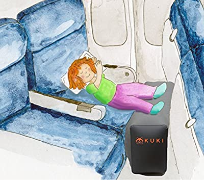 Inflatable Travel Pillow Bed / Leg Rest For Kids to Lie Down & Sleep on Long Flights, Long Distance Journeys in Cars, on Buses or Trains. Elevate YOUR Legs for Better Circulation. Gray. By KUKI