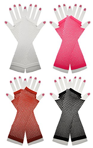Set of 4 Long Fingerless Fishnet Gloves for Costumes, Halloween, and Parties! (Diy Halloween Duck Costume)