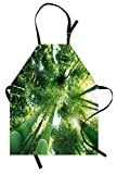 Lunarable Bamboo Apron, Low Angle View of Bamboo Tree Tops Asian Zen Tranquil Lands Jungle Meditation Spa Theme, Unisex Kitchen Bib Apron with Adjustable Neck for Cooking Baking Gardening, Green