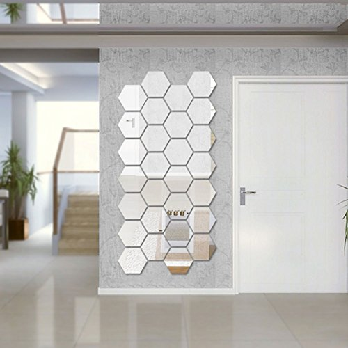 Sunm Boutique Hexagon Mirror 12 PCS Geometric Hexagon Mirror Removable Hexagon Mirror Art DIY Home Decorative 3D Hexagonal Acrylic Mirror Wall Stickers for Room Decor
