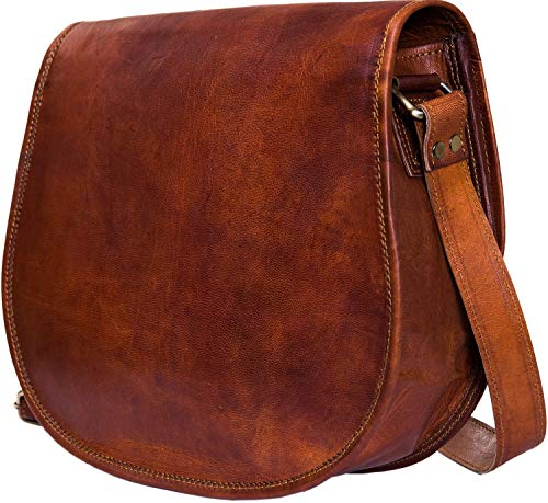 Urban Leather Crossbody Bags for Women Saddle Bag Purse Shoulder Handbags Mother's Day Gift for Young Women & Teen Girls Vintage Brown Genuine Leather Satchel Spring Handbag Small Size 12 inch ()