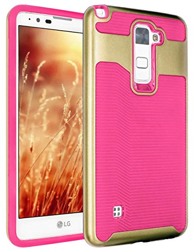LG Stylo 2 Plus Case, KAMII 2in1 Hard PC + Soft Silicone Ultra Thin and Slim Design Shock-Absorption Hybrid High Impact Defender Cover for LG Stylo 2/LS775/LG Stylo 2 Plus(MS550) (Peach+Gold)