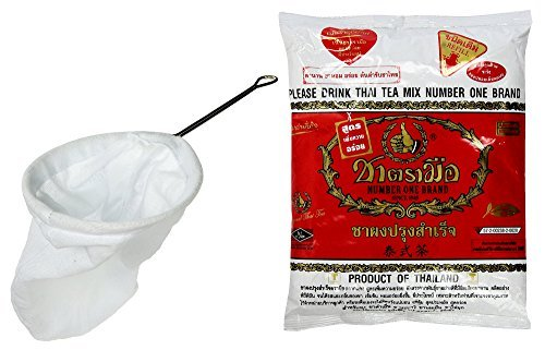 Thai Tea Filter Stainless Steel Traditional Thai Style with Number One The Original Thai Iced Tea Mix (Cha Tra Mue - 400g) by Cha Tra Mue