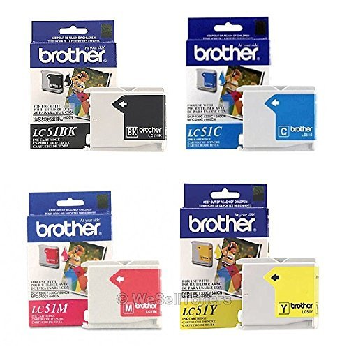 Genuine Brother LC51 (LC-51) Color (Bk/C/M/Y) Ink Cartrid...