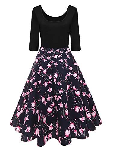 Misshow 1950er Vintage Jugendweihe Festkleider Rockabilly Kleid Cocktailkleid Printkleid QuKeHk