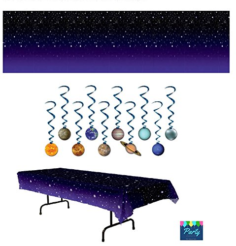 Space Scene - Space Party Supplies - Outer Space Stars Table Cover, Star Night Room Scene Setter Back Drop, and Solar System Planet Swirl Decorations