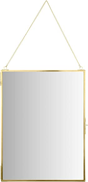 Koyal Wholesale Modern Mirror Wall Decor Photo Frame Cabinet, Large 12 x 16 Hanging Tall Vertical Rectangle Wall Mirror Photo Cabinet with Lock, Gold Jewelry Armoire Bedroom Mirror
