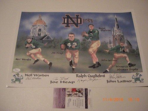 1953 Notre Dame Backfield Johnny Lattner,heap,worden coa Signed Lithograph - JSA Certified - Autographed College Art