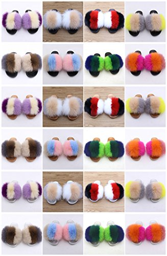 Toe Sole qmfur Width Fox Multicolor Wide Women Fur Slides On Black Open Real c Comfortable Sandals RxUxBYqwT