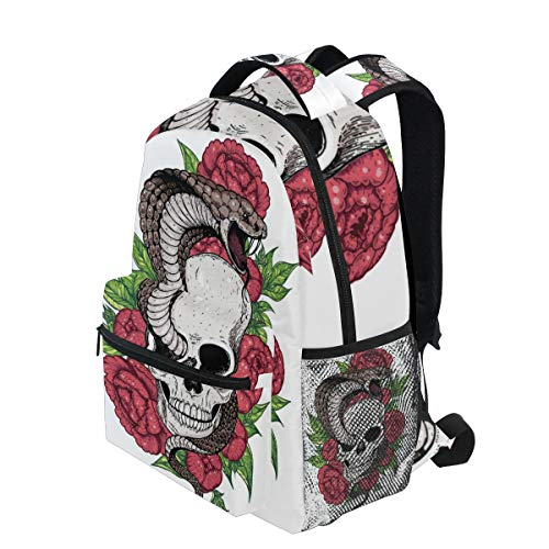 - KVMV Skull Cobra Snake Flowers Hand Drawn Lightweight School Backpack Students College Bag Travel Hiking Camping Bags