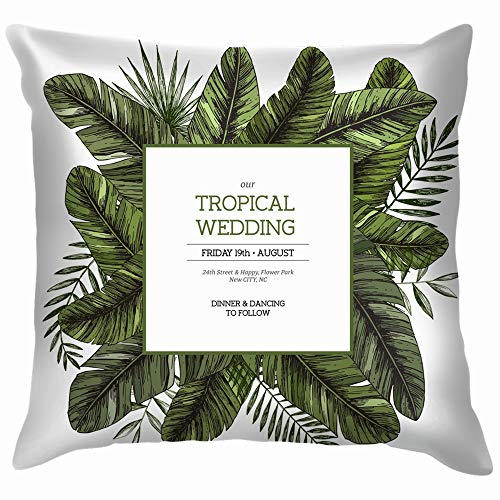 Tropical Palm Leaves Jungle Wedding Invitation Nature Funny Square Throw Pillow Cases Cushion Cover for Bedroom Living Room Decorative 16X16 -