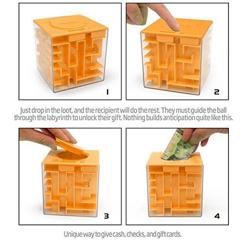 Lumiparty Money Maze Puzzle Bank, 3D Intellectual Magic Cube Maze Coin Cash Bills Storage Boxes, Challenging Toy Game Gag Birthday Christmas Gifts for Kids Teenagers and Adults