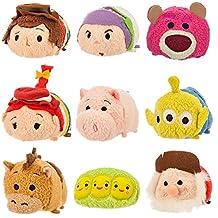 Disney Tsum Tsum Mini Toy Story Deluxe Set of 9 Woody Buzz Bullseye Jessie Pig Alien Peas Lotso Huggins Stinky Pete