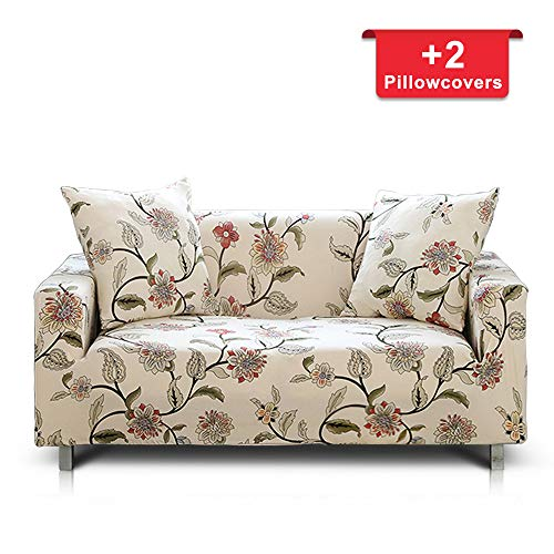 (Hipinger Spandex Fabric Stretch Couch Cover Sofa Slipcover Stylish Furniture Protector for 3 Cushion Couch (3 Seater, Blooming Flower))