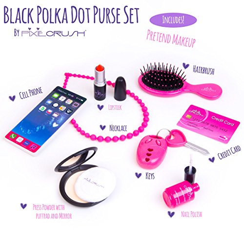 Polka Dot Pretend Toy Girls Purse Bag With Phone Makeup Brush Keys