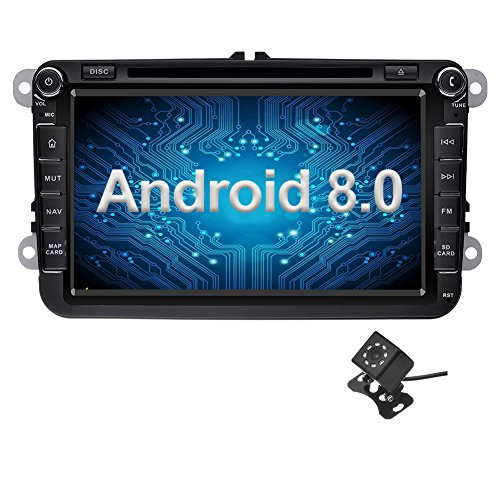 Ohok 8 Inch Android 8.0 Car Radio 2 Din 8-Core 4G + 32G Sat Nav DVD Player GPS Navigation Supports Bluetooth WLAN OBD2 for VW Volkswagen SEAT Skoda Golf Polo Jetta Passat Touran (Hybrid Dvr Card)