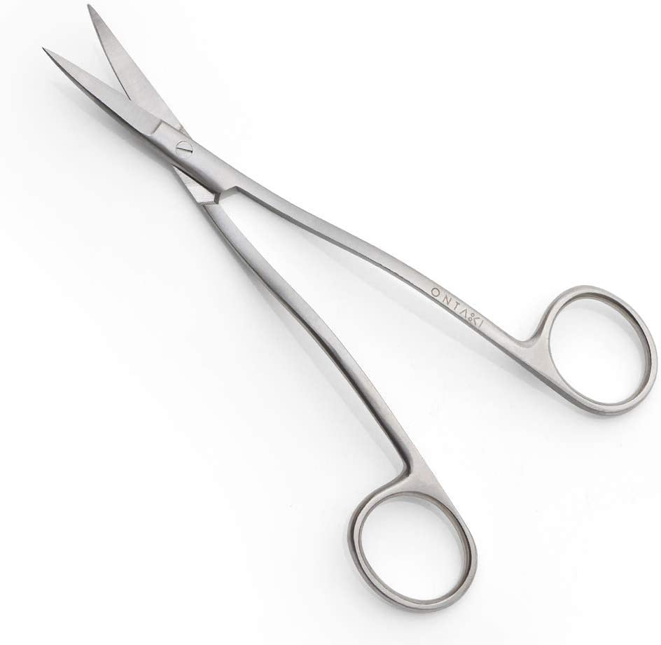 Bent Handle Curved Embroidery Applique Scissors for Machine Embroidery & Fabric Stitches (Silver, Medium 6.5')