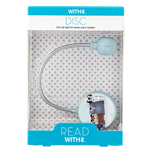 Disc Reading Light by WITHit - LED Book Light with Chrome Neck for Books, E-Reader and E-Book Light… (Dogs)