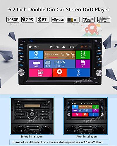 """EinCar 6.2"""" Car Car Radio Touch Player In-dash Car Audio AM/FM Radio SD AUX Control With Wireless Camera"""