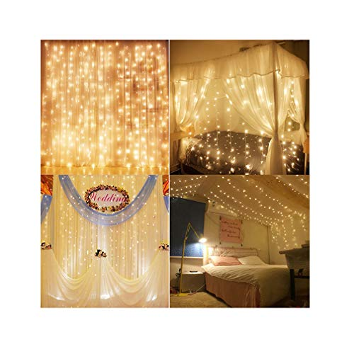 Decute Curtain Lights, 9.8 X 9.8ft 306 LED UL Listed Christmas Decoration Fairy Light for Wedding, Bedroom, Bed Canopy, Garden, Patio, Outdoor Indoor, Warm ()