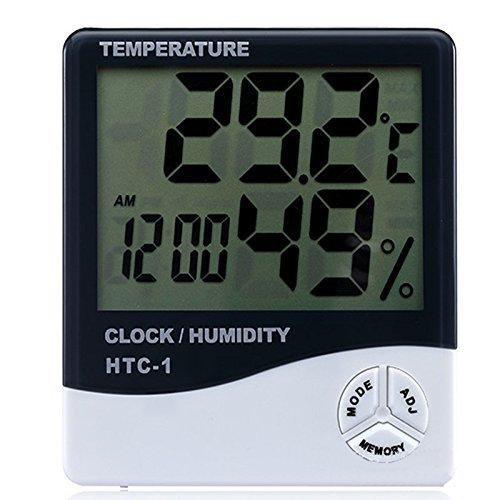 D&F Schermo LCD Termometro Della Temperatura Digitale Misuratore Di Umidità Termometro Con Funzione Sveglia Thermometer