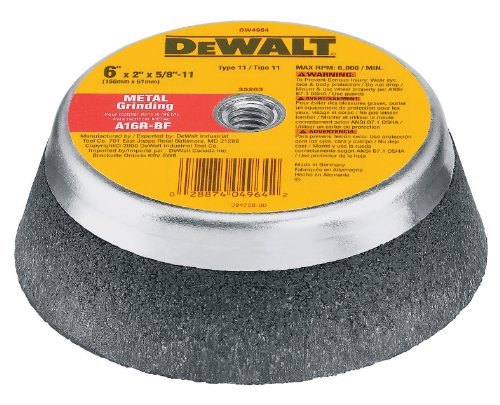 DEWALT DW4964 6-Inch by 2-Inch by 5/8-Inch-11 Metal Grinding Steel Backed Cup Wheel