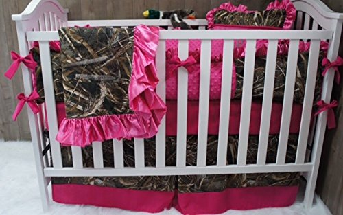 Custom Made Baby Crib Nursery Bedding Max 4 HD Camo hot pink