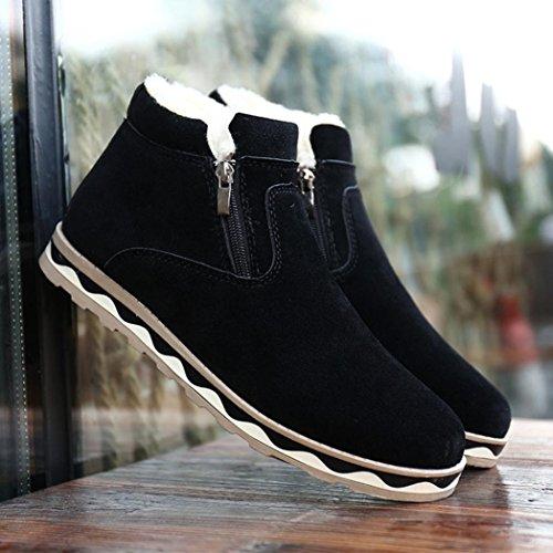 Stivaletti Caviglia da Uomo Impermeabile Nero Stivali Stivali Tagliare da Neve Scarpe Piatto Peluche BYSTE Antiscivolo Stivali Caviglia Invernali Neve p8vwxaqxF