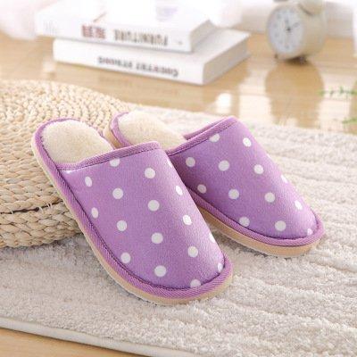 Fankou Autunno e Inverno indoor pantofole di cotone uomini e donne fashion onda coppie punto caldo cotone pantofole home pantofole coppie ,4041, Viola