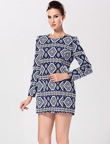 PU&PU Robe Aux femmes Gaine Street Chic,Imprimé Col Arrondi Mini Coton , blue-l , blue-l