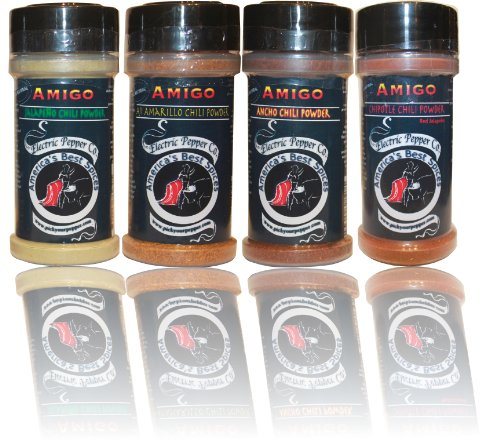 Chili Pepper Powder Gift Set, Jalapeño, Chipotle, Ancho, Aji, Spice, Dried Chili Pepper Powder