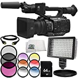 Panasonic AG-UX180 4K Premium Professional Camcorder 8PC Accessory Bundle – Includes 64GB SD Memory Card + 3 Piece Filter Kit (UV + CPL + FLD) + MORE
